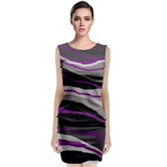 Purple and gray decorative design Classic Sleeveless Midi Dress