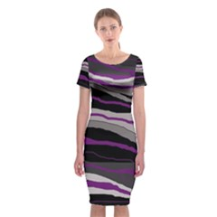Purple and gray decorative design Classic Short Sleeve Midi Dress