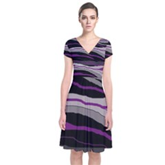 Purple And Gray Decorative Design Short Sleeve Front Wrap Dress