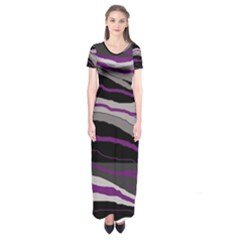 Purple and gray decorative design Short Sleeve Maxi Dress