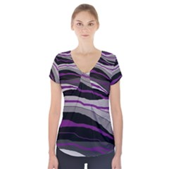 Purple And Gray Decorative Design Short Sleeve Front Detail Top
