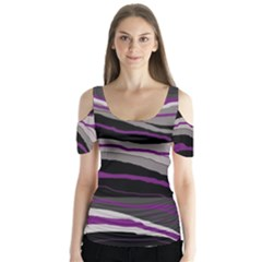 Purple and gray decorative design Butterfly Sleeve Cutout Tee