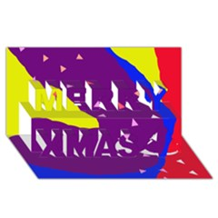 Optimistic abstraction Merry Xmas 3D Greeting Card (8x4)