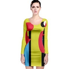 Abstract landscape Long Sleeve Bodycon Dress