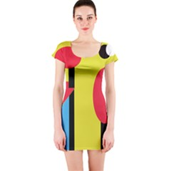 Abstract landscape Short Sleeve Bodycon Dress