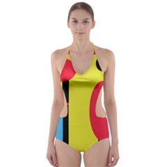 Abstract landscape Cut-Out One Piece Swimsuit