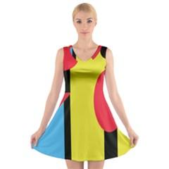 Abstract landscape V-Neck Sleeveless Skater Dress