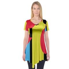 Abstract Landscape Short Sleeve Tunic