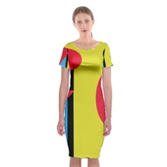 Abstract Landscape Classic Short Sleeve Midi Dress