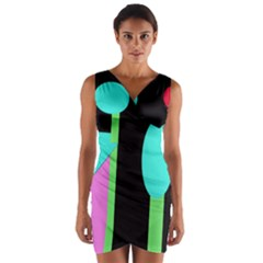 Abstract Landscape Wrap Front Bodycon Dress