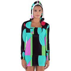 Abstract landscape Women s Long Sleeve Hooded T-shirt