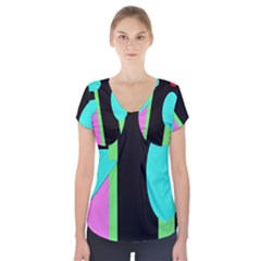 Abstract landscape Short Sleeve Front Detail Top