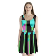 Abstract landscape Split Back Mini Dress