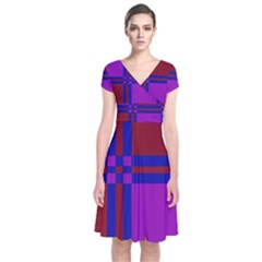 Deorative design Short Sleeve Front Wrap Dress