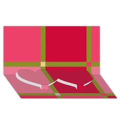 Red and green Twin Heart Bottom 3D Greeting Card (8x4)