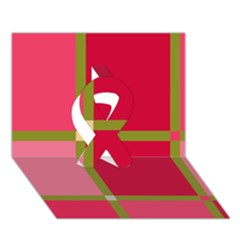 Red and green Ribbon 3D Greeting Card (7x5)