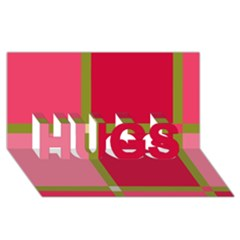 Red and green HUGS 3D Greeting Card (8x4)