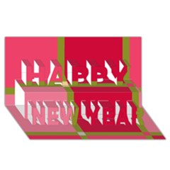 Red And Green Happy New Year 3d Greeting Card (8x4)