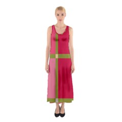 Red and green Sleeveless Maxi Dress