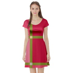 Red and green Short Sleeve Skater Dress