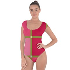 Red and green Short Sleeve Leotard