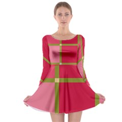 Red and green Long Sleeve Skater Dress