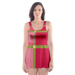 Red And Green Skater Dress Swimsuit