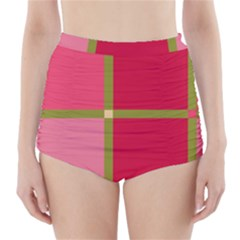 Red and green High-Waisted Bikini Bottoms