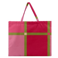 Red and green Zipper Large Tote Bag