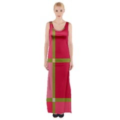 Red and green Maxi Thigh Split Dress