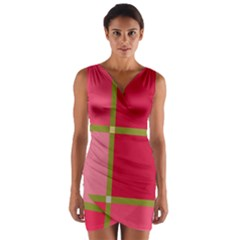 Red and green Wrap Front Bodycon Dress
