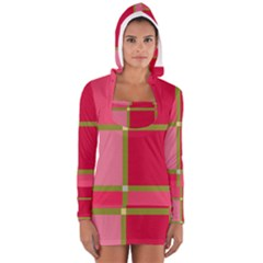 Red and green Women s Long Sleeve Hooded T-shirt