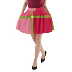 Red and green A-Line Pocket Skirt
