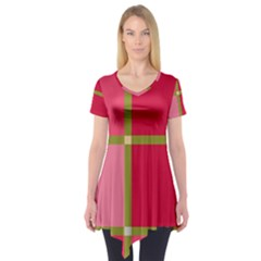 Red and green Short Sleeve Tunic
