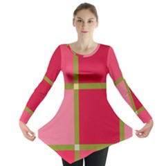 Red and green Long Sleeve Tunic