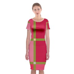 Red and green Classic Short Sleeve Midi Dress