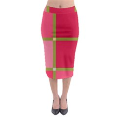 Red and green Midi Pencil Skirt