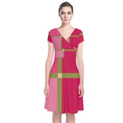 Red And Green Short Sleeve Front Wrap Dress