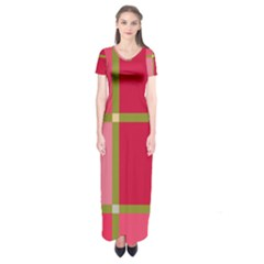 Red and green Short Sleeve Maxi Dress