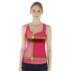 Red and green Racer Back Sports Top