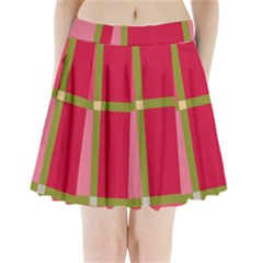 Red and green Pleated Mini Mesh Skirt