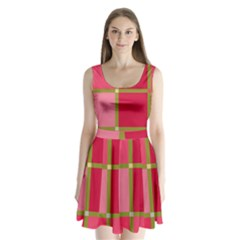 Red and green Split Back Mini Dress