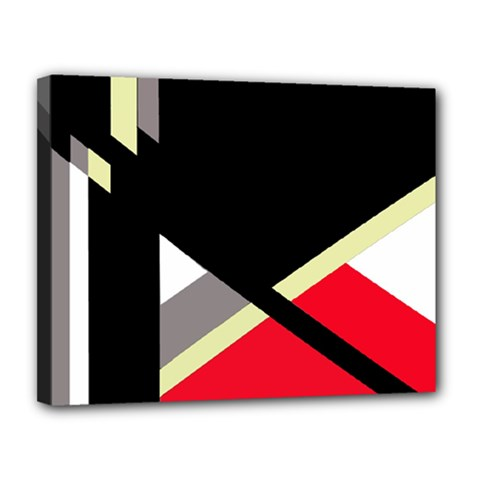 Red and black abstraction Canvas 14  x 11