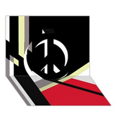 Red and black abstraction Peace Sign 3D Greeting Card (7x5)
