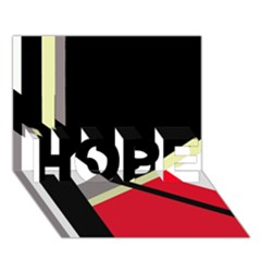 Red and black abstraction HOPE 3D Greeting Card (7x5)