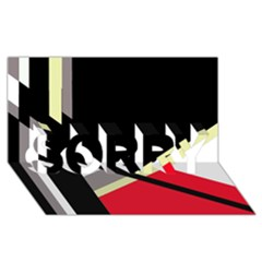 Red and black abstraction SORRY 3D Greeting Card (8x4)
