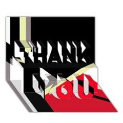 Red and black abstraction THANK YOU 3D Greeting Card (7x5)