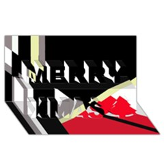 Red and black abstraction Merry Xmas 3D Greeting Card (8x4)