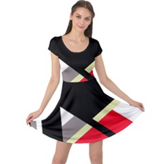 Red and black abstraction Cap Sleeve Dresses