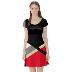 Red and black abstraction Short Sleeve Skater Dress